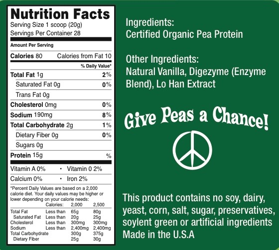 Organic Pea Protein Ingredients Label